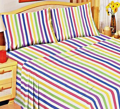 Love2Sleep 100% BRUSHED COTTON SOFT FLANNELETTE SHEET SET: CANDY STRIPE