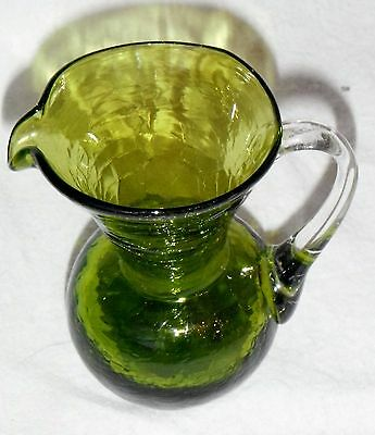 VINTAGE CRACKLE GLASS OLIVE GREEN PITCHER 3 1/2 INCHES TALL