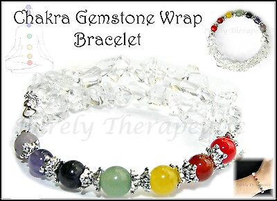 ~CHAKRA GEMSTONE WRAP BRACELET CUFF BANGLE~Gemstones~Crystal~Wicca~Pagan~Reiki~