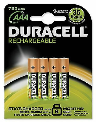 4 x DURACELL AAA 750 mAh RECHARGEABLE BATTERIES NiMAH HR03 LR03 PHONE