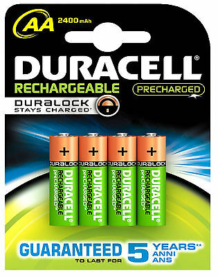 4 x DURACELL AA 2500 mAh PRE CHARGED RECHARGEABLE BATTERIES NiMAH HR06