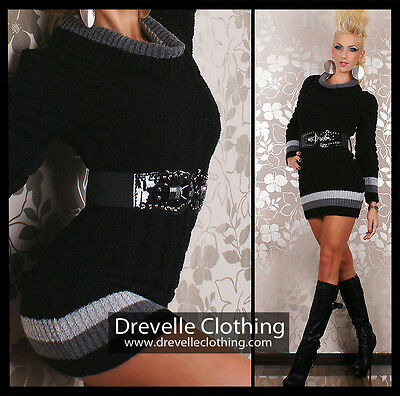NEW DREVELLE FASHION PULLOVER SEXY LONG SWEATER BLACK INCL BELT SZ 6,8,10,12,14