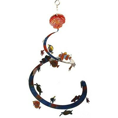 EySpi Hanging Metal Spiral Mobile Decoration – TROPICAL FISH – SMALL (7.5 x 8)