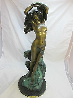 """Beautiful Nude Lady Bronze 24"""" Statue By the Sea Signed By Cardassi"""