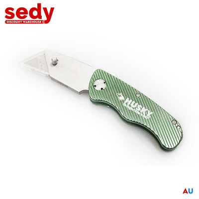 Utility Knife With 10 Spare Blades High Quality HUSKY Folding Alloy Steel Metal