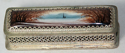 RaRe Antique ~~SCENIC ENAMEL & METAL, LINED NEEDLE CASE~~SEWING