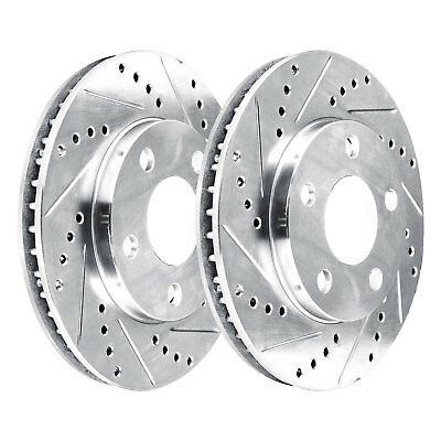 2 FRONTS 2 Platinum Hart *DRILLED /& SLOTTED* Front Disc Brake Rotors 2720