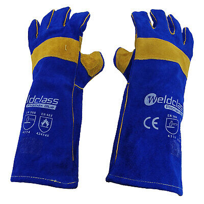 Promax Blue Welding Gloves - 1 Pair - 40cm Long - PREMIUM - Weldclass - MIG ARC