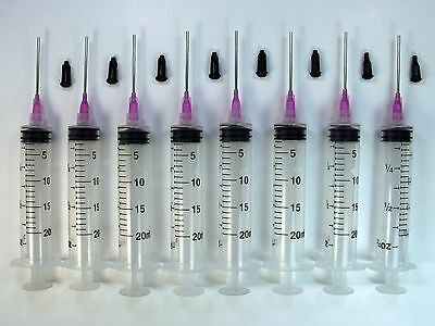 8 Syringes 20ml 20cc 16 Gauge Tips Caps Dispense Adhesives Glue Gel Craft LL16