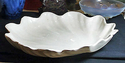 Giant 1940s Clam Shaped Catalina Pottery Serving Bowl Matte White Perfect AsMade