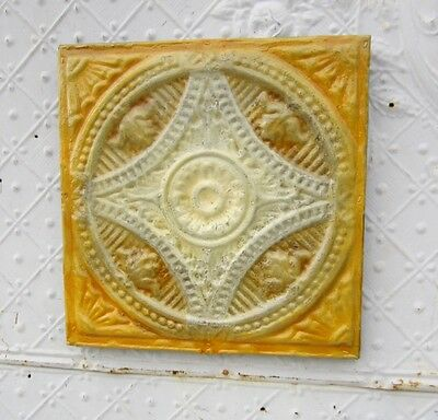 "12"" Square  Antique Ceiling Tin Wall Art by Lori Daniels -Yellow & Cream Colors"