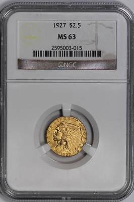 1927 $2.5 Gold Indian Head Quarter Eagle MS63 NGC