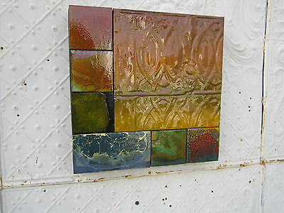 "12"" Pieced Square  Antique Ceiling Tin Wall Art by Lori Daniels Multi Colored"