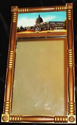 ANTIQUE WALL MIRROR~WASHINGTON DC CAPITOL BLDG~REVERSE PAINTED W/FOIL~LATE 1800s