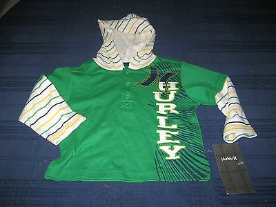 Boys Hurley Hoodie Long Sleeve Shirt Size 12 Months Green/white  Nwt