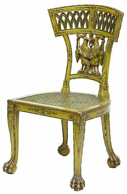 Early 19Th Century Carved Painted Biedermeier Cane Seat Chair