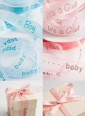 New Baby Boy Girl Teddy Pink Blue 1m 2m 5m Printed Ribbon Christening Cake Showe