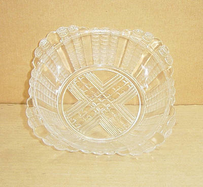 "EAPG CRYSTAL FISHSCALE DEEP FLARED RIM 8"" BOWL BRYCE BROS GLASS 1888"