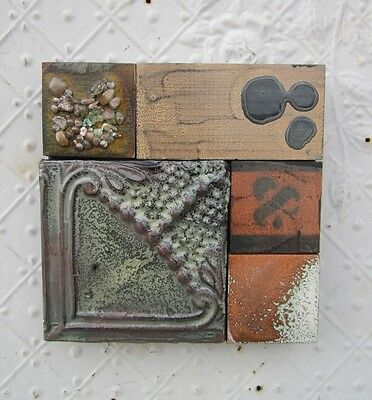 "9"" Pieced Square Ceiling Tin by Lori Daniels in Tans, Cinnamon & Grays"