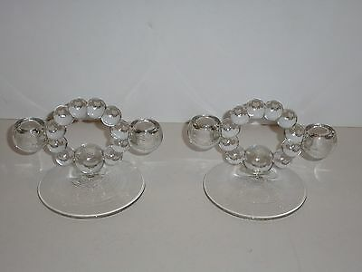 Vintage Imperial Glass Candlewick 2-Holder Candelabra Pair, Circular Bead Design
