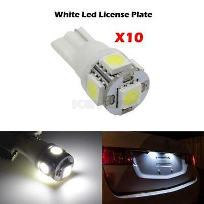10x HID White 360 Degree 5-SMD 168 194 2825 LED Bulbs For License Plate Lights