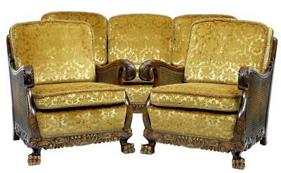 Early 20Th Century Swedish Carved Birch Bergere Suite Sofa Armchairs