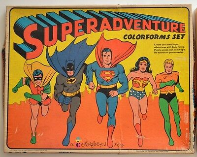 SUPERADVENTURE COLORFORMS SET Rare DC 1974 MIB Aquaman Batman Wonder Woman Robin