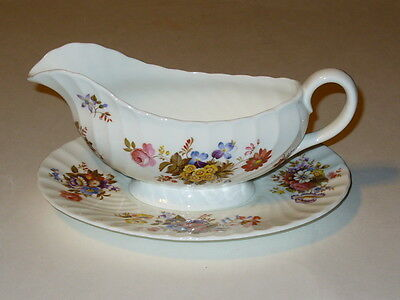 Aynsley England SUMMERTIME Gravy Boat and Underplate