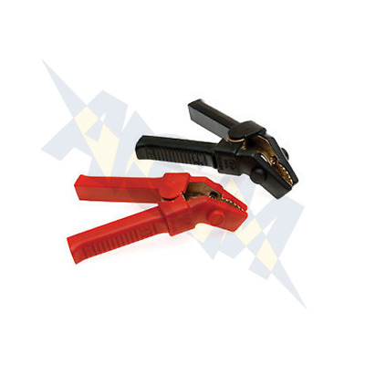 Pair of Jump Lead Crocodile Clips Clamps Red Black Croc Terminals 500A Insulated