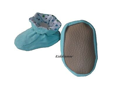 Baby Booties 6 - 12 months corduroy boy girl shoe slipper padder non-skid