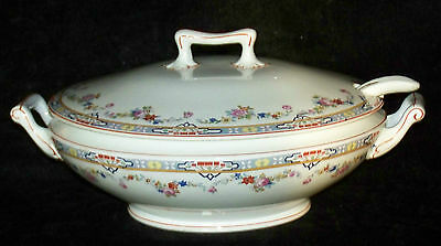 WH Grindley England Dresden Soup Tureen Casserole Dish with Matching Ladle