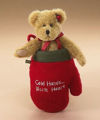"Retired BOYDS Cozy Toes Woolsey 6"" Bear Christmas Mitten - Cold Hands Warm Heart"
