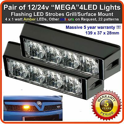 PAIR of 4LED Grill Strobes Flashing Lights Recovery Lightbar Beacon 12 24V truck