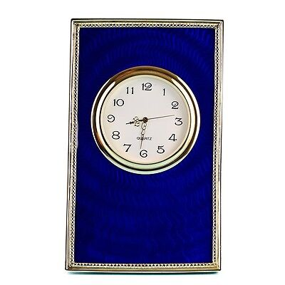 Blue Enameled Guilloche Framed Russian Royal Picture Clock
