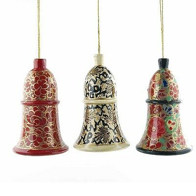 3 Leaves & Flowers Bell Wooden Christmas Ornaments