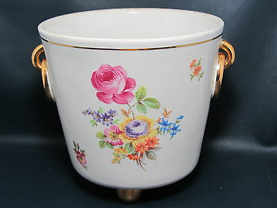 METZLER & ORTLOFF - Germany Thick Gold Floral 3 FOOTED PORCELAIN FLOWER POT 1D