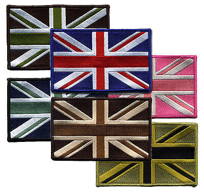 "4.5"" Union Jack UK Flag Patch 100% Emb Merrow Border Velcro/Iron on/Sew on"