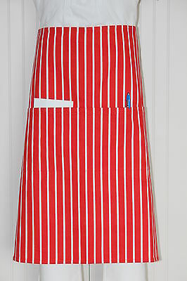3/4 Apron Red / White Stripes ( 2 pockets ) - 100% Cotton Drill