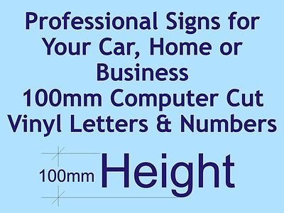 Professional Computer Cut Vinyl Letters and Numbers 100mm High - per character