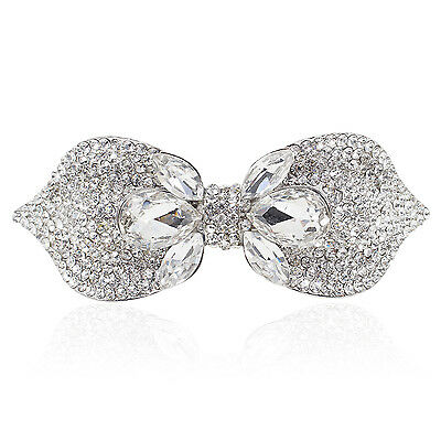 Holy White Rhinestone Crystal Silver Tone Bowtie Barrette Hair Clip Party Gift