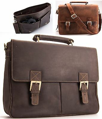 Visconti Large Mens Distressed Leather Briefcase Messenger Bag A4 BERLIN 18716