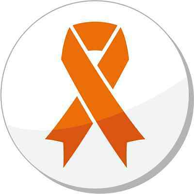 "Orange Ribbon Leukemia, Hunger, Humane Treatment of Animals Sticker 5"" x 5"""