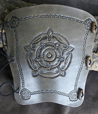 Hand carved Tudor Rose Leather traditional bow archery arm guard,bracer,armguard
