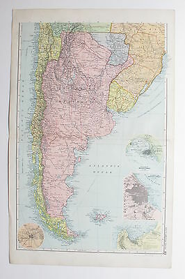 1898 SOUTH AMERICA ARGENTINA FALKLAND ISLANDS URUGUAY ETC. Antique Map Bacon