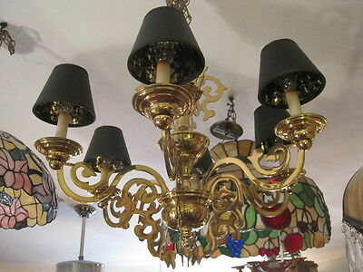 Scroll Brass 6 Arm Chandelier with Black Shades