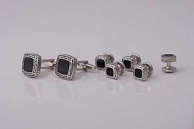 SET Cufflinks and Studs - silver colour decorated with black paintings and stone