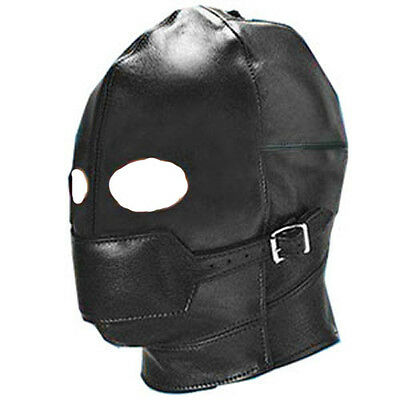 Faux/PU Leather Gimp Eyes Open Mask With Removable Mouth Ball Gag roleplay