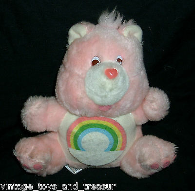 "9"" Vintage 1984 Care Bears Cheer Bear Pink Rainbow Stuffed Animal Plush Toy Bank"