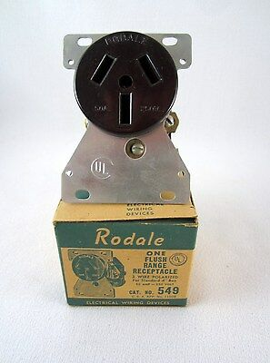 Rodale Bakelite Flush Range Outlet 3 Wire 50 Amp 250 Volt Outlet - New Old Stock