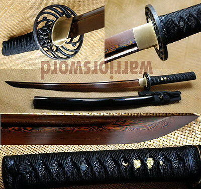 Japanese Samurai Sword Wakizashi Black & Red Folded Steel Full Tang Blade #m561